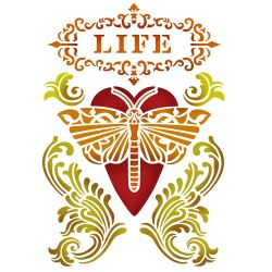 Sablon 20*15cm - Life Heart with Dragonfly