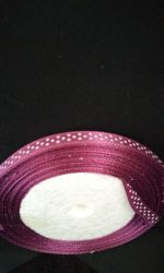 Panglica din satin 6mm cu buline - mallow