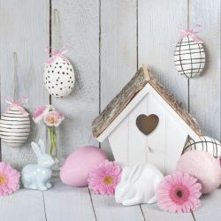 Servetel decor 33*33cm - Pink easter