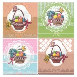 Servetel decor 33*33cm - four easter baskets