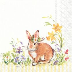 Servetel decor 33*33cm -  lovely bunny yellow