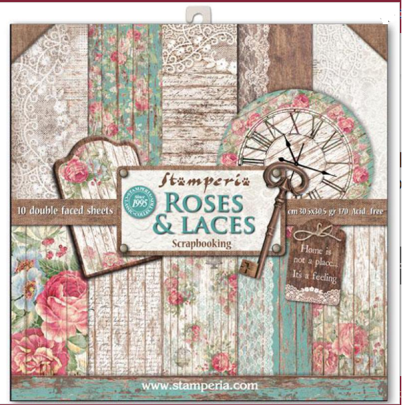 Set de 10 hartii scrapbooking, 30.5*30.5cm - Roses, lace and wood