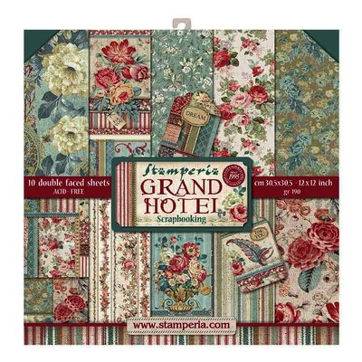 Set de 10 hartii scrapbooking, 30.5*30.5cm - Grand Hotel