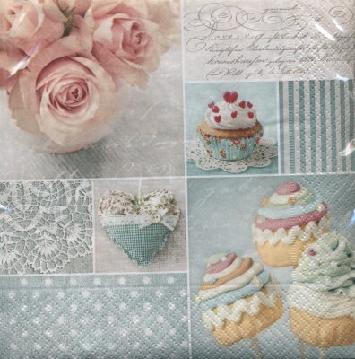 Servetel decor 33*33cm - vintage cupcakes