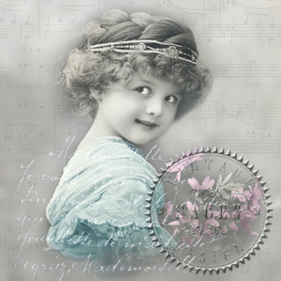 Servetel decorativ - Vintage -  girl with flowers