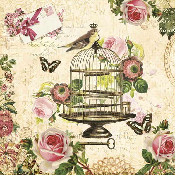 Servetel decor 33*33cm - bird on vintage cage