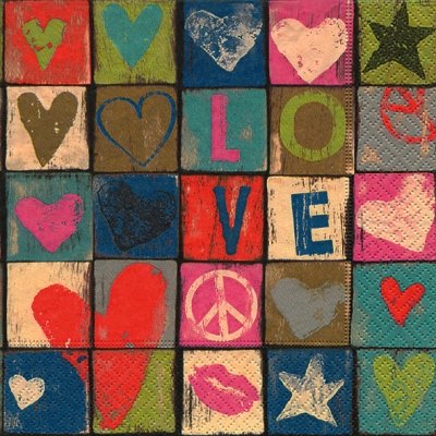 Servetel decor 33*33cm -love and peace